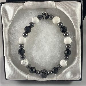 Aromatherapy anti-anxiety bracelet howlite & glass